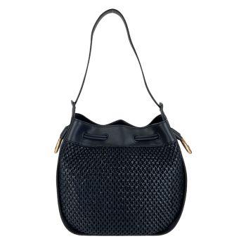 Borsa Donna Hobo a Spalla LIU JO con Design Intrecciato colore Blu Navy