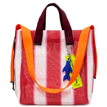 Borsa Donna a Mano GUM linea All You Need is Beach a Righe Rosse e Bianche