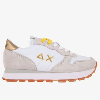 SUN68 Woman Sneakers - Ally Solid Nylon White and Gold