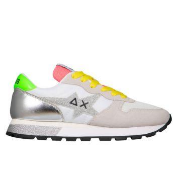 Scarpe Donna Sun68 Sneakers Ally Star Glitter Logo Bianco Panna