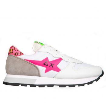 Scarpe Donna Sun68 Sneakers Ally Star Transparent Logo Bianco - Fuxia Fluo