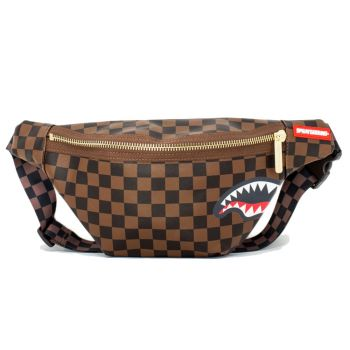 Marsupio Uomo SPRAYGROUND stampa Sharks in Paris Brown