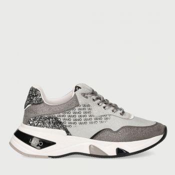 Scarpe Donna LIU JO Sneakers in Mesh Metalizzato e Glitter colore Black e White