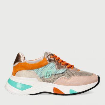 Scarpe Donna LIU JO Sneakers in Glossy Suede e Mesh Azzurro Arancione e Rosa