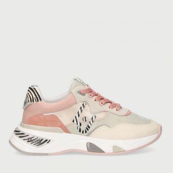 Scarpe Donna LIU JO Sneakers in Mesh Suede e Raso colore Rosa e Animalier