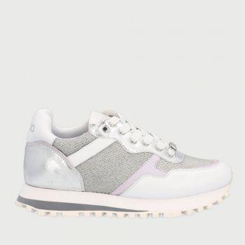 Scarpe Donna LIU JO Sneakers in Pelle e Tessuto Mesh colore Bianco e Argento