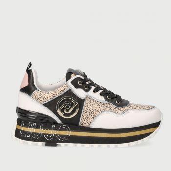 Scarpe Donna LIU JO Sneakers in Pelle stampa Animalier Bianco e Nero