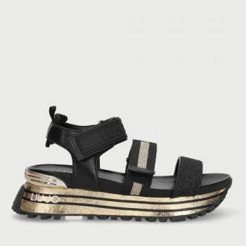 Scarpe Donna LIU JO Sandali Platform Nero con Inserto Glitter Oro