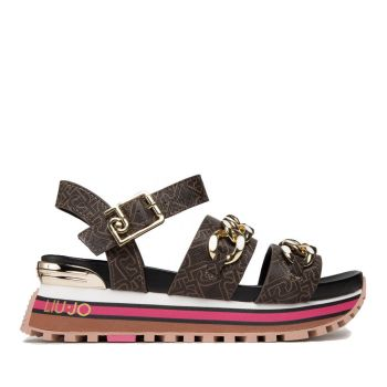 Scarpe Donna LIU JO Sandali Platform con Logo e Catene colore Marrone