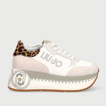 Scarpe Donna LIU JO Sneakers Maxi Platform Bianco con Dettaglio Animalier
