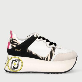 Scarpe Donna LIU JO Sneakers Maxi Platform in Suede e Cavallino Bianco