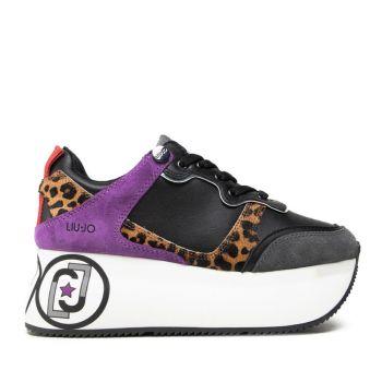 Scarpe Donna LIU JO Sneakers Maxi Platform in Suede e Cavallino Nero