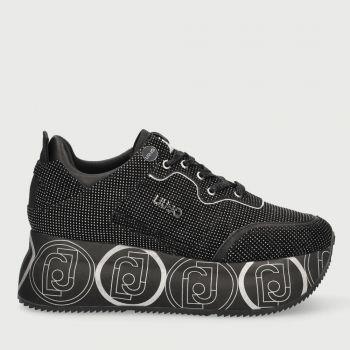 Scarpe Donna LIU JO Sneakers Maxi Platform in Suede con Micro Borchie Nero e Silver