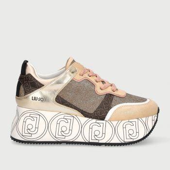 Scarpe Donna LIU JO Sneakers Maxi Platform in Mesh Glitter Oro Chiaro