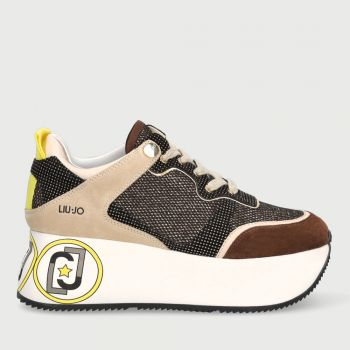 Scarpe Donna LIU JO Sneakers Maxi Platform in Suede e Mesh Glitter Gold