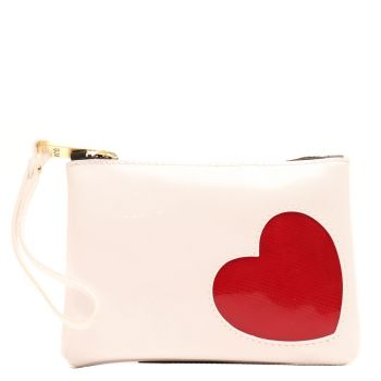 Pochette Donna Mini a Mano GUM modello Numbers linea Glossy Heart colore White