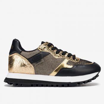 Scarpe Donna LIU JO Sneakers in Nappa con Inserti Metalizzati Nero e Oro
