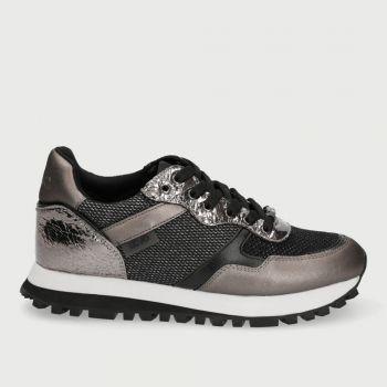 Scarpe Donna LIU JO Sneakers in Nappa con Inserti Metalizzati colore Pewter