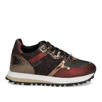 Scarpe Donna LIU JO Sneakers in Nappa con Inserti Metalizzati colore Burgundy