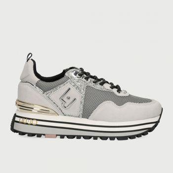 Scarpe Donna LIU JO Sneakers in Camoscio e Glitter Grigio Chiaro