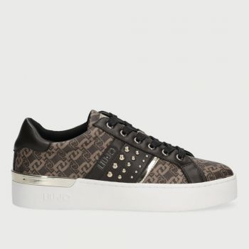 Scarpe Donna LIU JO Sneakers Monagram con Borchie Marrone