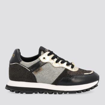 Scarpe Donna LIU JO Sneakers in Suede e Mesh Lamè colore Nero e Oro
