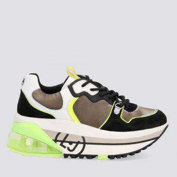 Scarpe Donna LIU JO Sneakers Platform in Pelle colore Bianco Nero e Verde Oliva