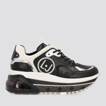 Scarpe Donna LIU JO Sneakers Platform in Pelle colore Nero e Silver