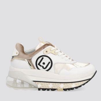 Scarpe Donna LIU JO Sneakers Platform in Pelle colore Bianco e Oro