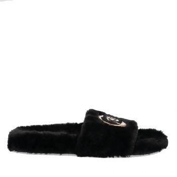 Ciabatte Donna LIU JO in Tessuto Eco Fur Nero