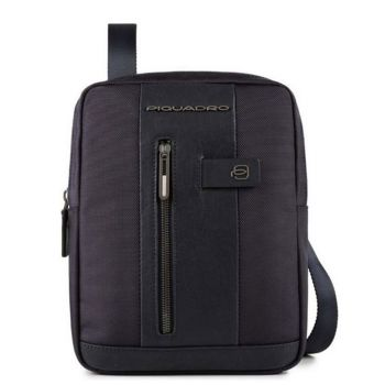 PIQUADRO Brief 2 Line – Blue Fabric and Leather Crossbody Bag with iPad Compartment CA1816B2