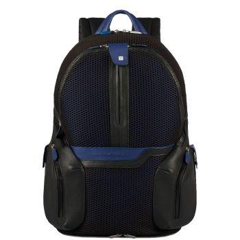 """Zaino Piquadro in Pelle e Tessuto Blu e Nero Porta Pc 14"""" e porta iPad®Air/Air2 -  CA2943OS06 Linea Coleos"""
