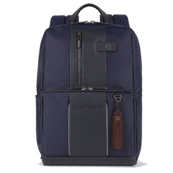 "PIQUADRO Brief 2 Line – Blue Fabric Backpack with 14"" Pc Compartment  CA3214BRL"
