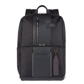 "PIQUADRO Brief 2 Line – Black Fabric Backpack with 14"" Pc Compartment CA3214BRL"