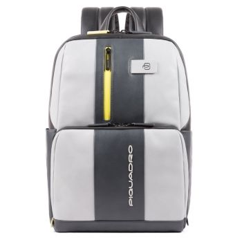 "PIQUADRO Urban Line – Grey and Yellow Leather Backpack with 14"" pc Compartment CA3214UB00BM"