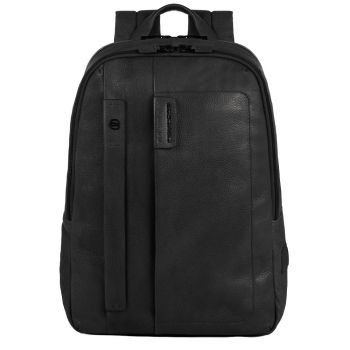 """PIQUADRO P15S Line – Black Leather Backpack with 14"""" Pc Compartment CA3869P15S"""