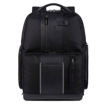 "PIQUADRO Brief 2 Line – Black Fabric and Leather Backpack with 15,6"" Pc Compartment CA4532BR2"