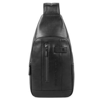 PIQUADRO Urban Line – Black Leather Mono Sling Bag CA4536UB00