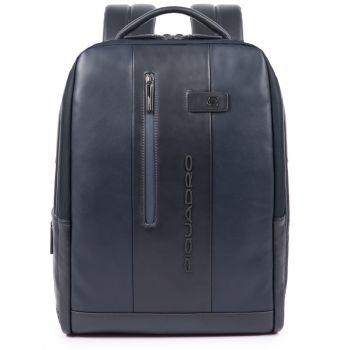 """PIQUADRO Zaino in Pelle Blu con Porta Pc 15,6"""" e Porta iPad con Cavo Antifurto linea Urban"""
