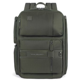 """PIQUADRO Tokyo Line – Military Green Fabric and Leather Backpack for 14"""" Pc CA4915S107"""