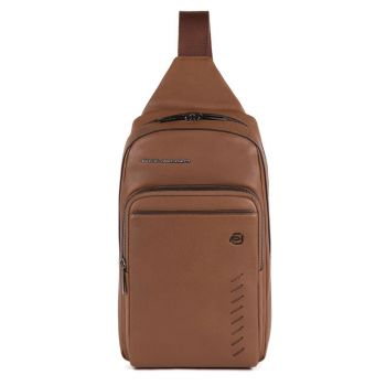 PIQUADRO Nabucco Line – Brown Leather Mono Sling Bag With iPad mini Compartment CA5346S110