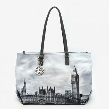 Borsa Donna Shopper a Spalla Y NOT FAS-007 London Grey