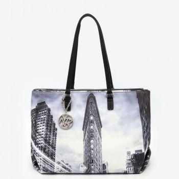 Borsa Donna Shopper a Spalla Y NOT FAS-007 New York Black