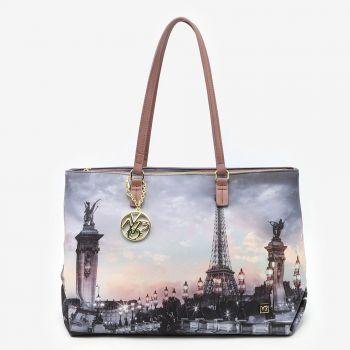 Borsa Donna Shopper a Spalla Y NOT FAS-007 Paris Nude