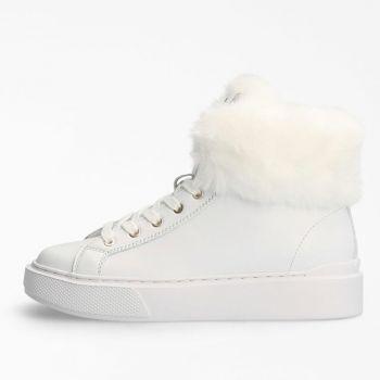 Sneakers Alte Donna GUESS in Pelle con Pelliccia Colore Bianco Linea Historia