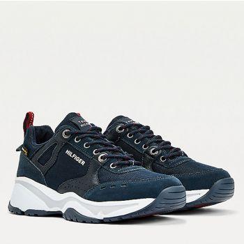 Scarpe Uomo TOMMY HILFIGER Sneakers linea Outodoor in Camoscio e Cordura colore Blu