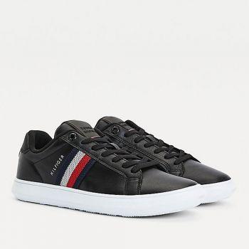 Scarpe Uomo TOMMY HILFIGER Sneakers linea Essential Cupsole in Pelle Nera