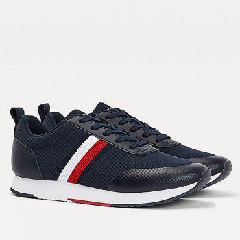 Scarpe Uomo TOMMY HILFIGER Sneakers Running linea Retro Knit Stripes in Tessuto Blu