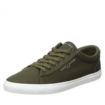 Scarpe Uomo TOMMY HILFIGER Sneakers linea Essential in Tessuto color Army Green