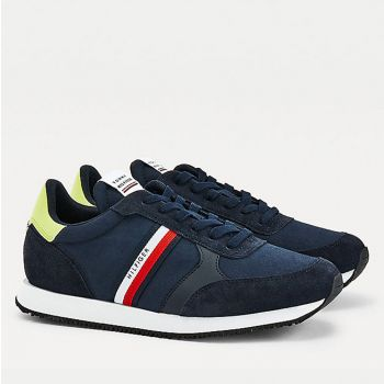 Scarpe Uomo TOMMY HILFIGER Sneakers Running linea Mix Stripes in Tessuto Blu